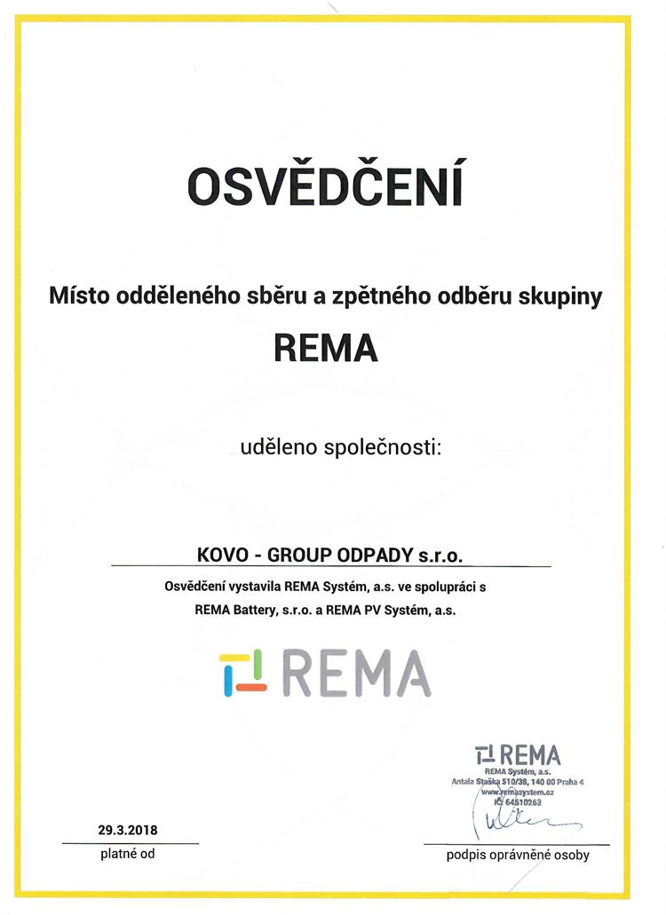 kovo group recyklace odvoz zelezo barevne kovy vykup surovin osvědčení REMA